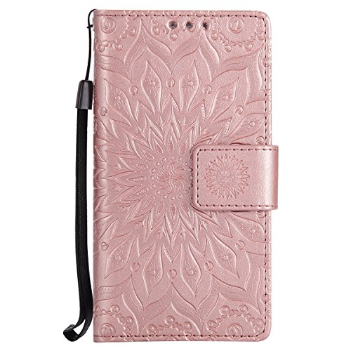 Galaxy A3 Leder Butterfly Hülle,Galaxy A3 Lanyard Wallet Schutzhülle,JAWSEU Stylish Elegante Sonnenblume Retro/Vintage Strap Muster Pu Leather Flip Brieftasche Etui Taschen Bookstyle Handyhülle Case C Flower,Rosegold