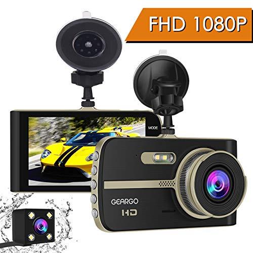 GEARGO Dashcam Full HD Autokamera Video Recorder Dash Camera mit 4 Zoll LCD-Bildschirm, WDR, Bewegungserkennung, Parkmonitor, Loop-Aufnahme, Nachtsicht und G-Sensor 4in Lcd