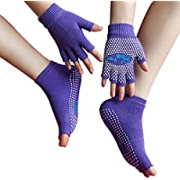 LJ Sport Mujer Chica Yoga Calcetines Antideslizante y guantes Set Algodón Calcetines Non Slip Skid Half dedos guantes, mujer, Purpur Set, talla única