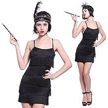 Maboobie - Disfraz de charlestón para mujer Vestido con flecos para Fiesta Carnaval Disfraces de los años 20 Flapper (M Negra)