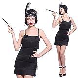 Maboobie - Disfraz de charlestón para mujer Vestido con flecos para Fiesta Carnaval Disfraces de los años 20 Flapper (S Negra)
