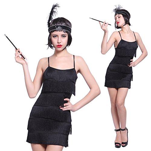 Flapper Damen Für Erwachsene Gatsby Kostüm - Anladia Damen Fransen Pailletten Party Tanzkleid Charleston Festlich Damenkostüm, L, Kurz Flapper-schwarz