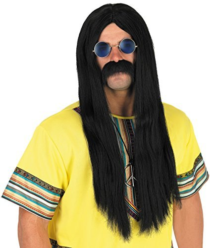 Herren Lang Schwarz Hippie 1960s 60s 1970s 70s Kiffer Perücke & Brillen Kostüm Kleid Outfit (Kiffer Kostüm)