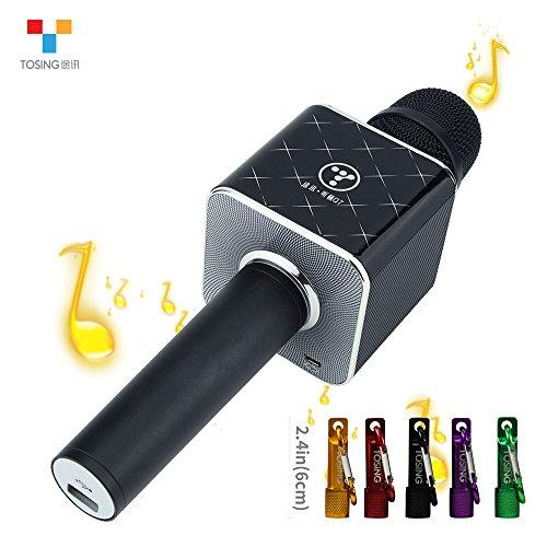 TOSING Q7 Microphone sans fil Karaoke Haut-parleur Bluetooth 2-en-1 Ordinateur de poche Chant et enregistrement Portable KTV Player Mini Home KTV Music Machine System pour iPhone / Android Smartphone / Tablet Compatible(Noir)