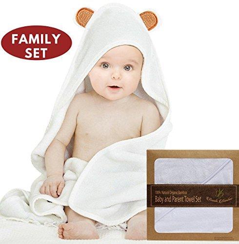 Bambi Bamboo Baby-Kapuzentuch und 2 Waschlappen biologische hypoallergene Cashmere weich 4X Mehr Absorbentbaby Badetuch mit Kapuze für Neugeborene, Kleinkind, Junge, Mädchen
