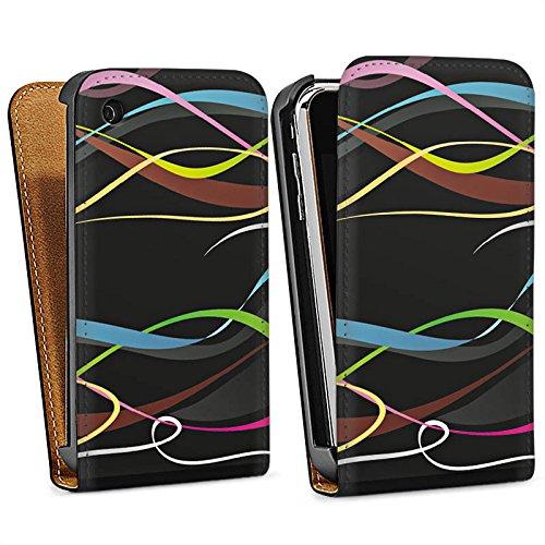 Apple iPhone 4 Housse Étui Silicone Coque Protection Fioriture couleurs Vrilles Sac Downflip noir