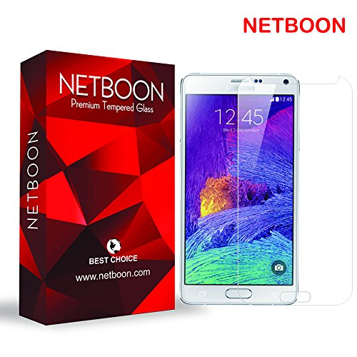 NETBOON® Premium Tempered Glass for Samsung Galaxy Note 4 – Anti Explosion, Crystal Clear Screen Guard, Shatterproof, Anti-Scratch Screen Protector, Bubble-free, Oleophobic Coating, 2.5D Round Edge – 9H Hardness Protect Mobile Screen from Scratches, Dirt, Dust, Bumps, or any unwanted wear and tear