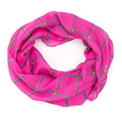ManuMar Loop-Schal für Damen   Hals-Tuch mit Karo-Motiv als perfektes Sommer-Accessoire   Schlauch-Schal in Pink Grau- Das ideale Geschenk für Frauen