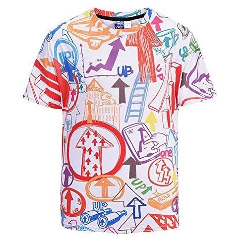 T-Shirt Short Sleeves Mens Polyester 3D Printing Arrow Graffiti Fashion Summer Comfortable