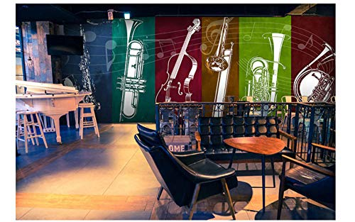 Jazz Rock Musik Gitarre Musikinstrument Seidentuch Tapete,Bar Ktv Western Restaurant Musik Element Wandbild,200X140cm