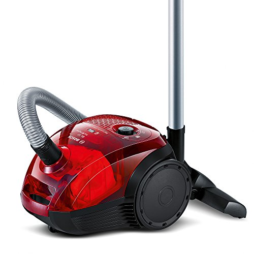 Bosch Bag & Bagless – Aspirateur sans sac, design compact, 600 W, couleur rouge translucide