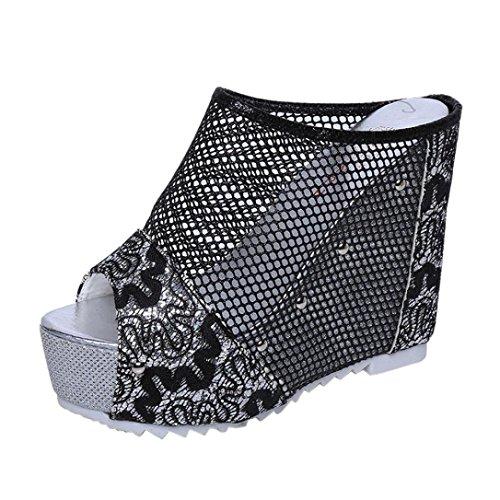 SamMoSon Promotion! Offene Sandalen Damen Sommer Sandalen Mädchen, Hot Sale Slingback Sandalen Elegant Blume Schuhe Peep-Toe Sandalette Shoes Frauen Flip Flops Hoher Absatz Schuhe (Schwarz, 39 EU)