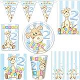 Partyselect 210850 - 2. Kindergeburtstag Deko Party Set Giraffe, hellblau