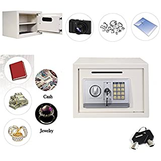 16L Digital Steel Safe Electronic Security Home Office Money Cash Safety Box, White