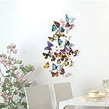 Adesivi Murali Kololy in Vinile Rimovibili Home Room Decor Stickers Frigorifero per Tende Adesivo da Parete 3D Farfalla 24 Pezzi