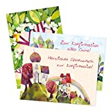 6er Set Glücnwunschkarten zur Kommunion, verschiedene Motive, Kommunion Karten, Boot, Baum, Kelch und Blumen, Glückwunsch, Kommunionkarten, Einladung, edel