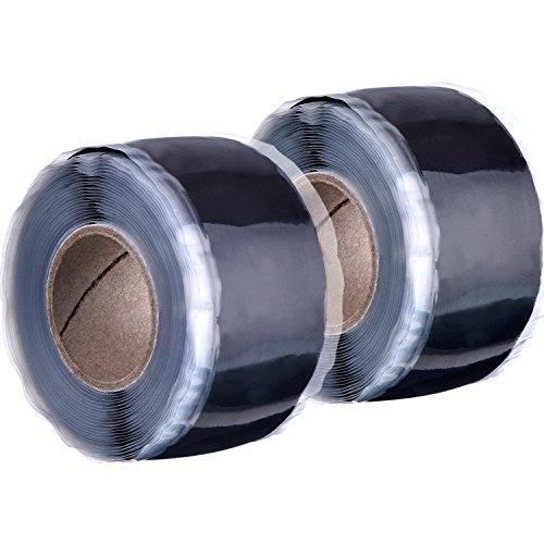 Celsius-tipp Bis (25 mm x 3 m Reparatur Tape Silikon Wasserdicht Sealing Tape Rescue Bonding Selbstklebendes Tape, Schwarz, 2 Rollen)