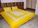 #9: Suraaj Fashion 100% Cotton Rajasthani Jaipuri Traditional Printed 1 Double Bedsheet With 2 Pillow Covers