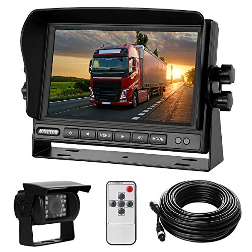 """Rückfahrkamera-Set mit 7\""""-LCD-Monitor & 170° Weitwinkel- Rückfahrkamera, IP68 wasserdicht, 18IR Nachtsicht, für LKW/Anhänger/Bus/Van/Landwirtschaft/Schwertransport(12-24 Volt)"""