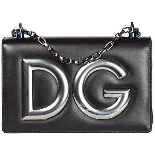 Dolce & Gabbana Schultertasche Leder Damen Tasche Umhängetasche Bag DG Girls Schwa