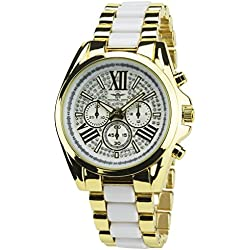 MICHAEL JOHN -Women's Watch White gold Quartz gold case Steel Analogue Display Band Steel