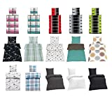 optidream Baumwolle Seersucker Bettwäsche mit Reißverschluss Bügelfrei in verschiedenen Größen und viele Designs 4tlg Set 2 x 135x200 + 2 x 80x80 cm, Design Stahlgrau/Petrol