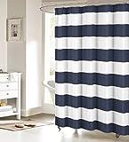 Tenda per doccia in tessuto: Nautical Stripe design (navy e bianco) 177,8cm W x 182,9cm l, Poliestere e misto poliestere, color2, 48x72inch