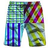 Men's Swim Trunks Colorful Zebra Heart Shape Savannah Animals Quick Dry Beach Wear Shorts Swimwear with Pockets,L