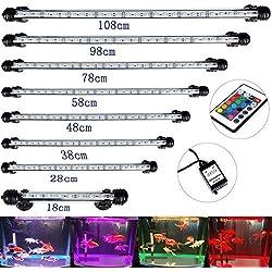 DOCEAN Aquarium LED Tube Luminaire D'éclairage Lumière Submersible étanche IP68 RGB 5050 SMD 45 LEDs 78CM avec Prise européenne