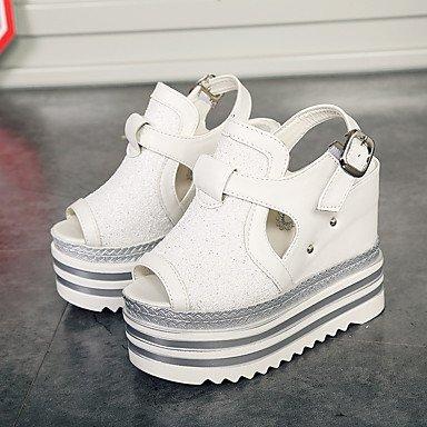 LvYuan Damen-Sandalen-Büro Kleid Party & Festivität-PU-Keilabsatz-Leuchtende Sohlen-Schwarz Weiß Silber White