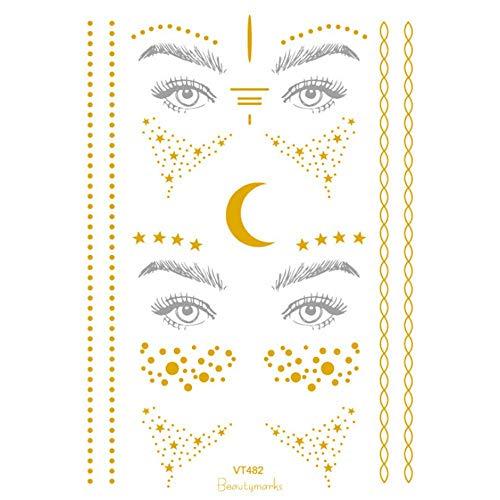Qiusa Halloween Weihnachten Gesicht Goldfolie Goldfolie Aufkleber Tattoo Aufkleber (Farbe : B)