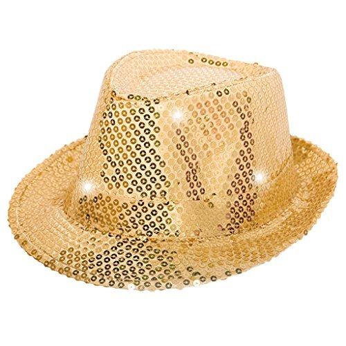 Folat 24072 Tribly Party Hut mit Pailletten und LED Beleuchtung, Unisex-Erwachsene, Gold, Einheitsgröße