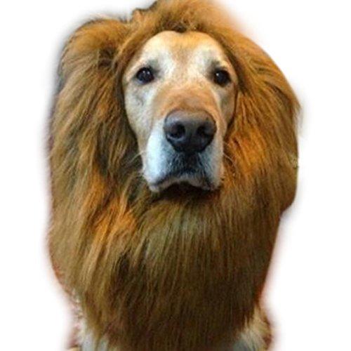 edealing (TM) Hundekostüm Löwe Mähne Perücke für große Hunde Cat Fancy Dress Up Halloween Festival Kleidung kann einstellbar sein (Brown) (Lion's Mane Kostüm Perücke)