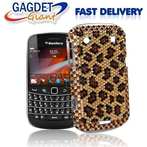 Gadget Giant Blackberry Bold Touch 9900 perlas de imitación hecho a mano de cristales de imitación diseño de estrellas fugaces - diseño de piel de leopardo diseño de piel de leopardo + incluye Protector de pantalla LCD
