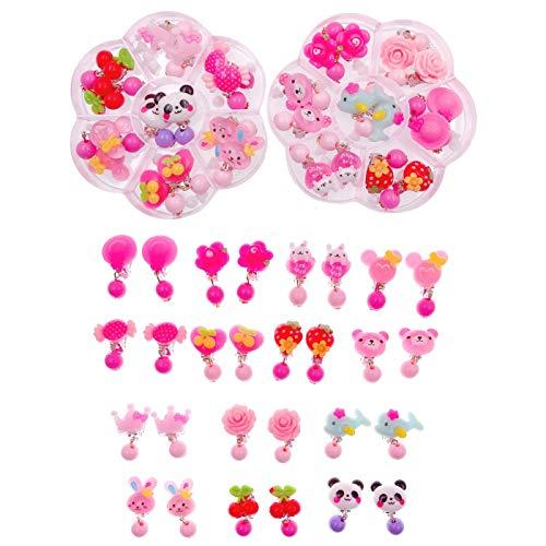JZK 14 Paare Kunststoff rosa Kinder Mädchen Ohrringe Spielzeug Prinzessin Ohrringe für Kindergeburtstag Party Geschenk Party Dekoration Party Mitgebsel (Paare Kostüm Billig)
