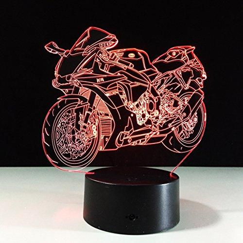 Visualización de la luz nocturna 3D Glow 7 Cambio de color Botón táctil USB y control remoto inteligente Mesa de escritorio Iluminación Bonito regalo Decoraciones para el hogar Juguetes (Mini Moto) Creatividad Luces