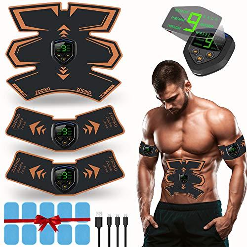 zociko EMS Electroestimulador Muscular Abdominales Estimulador Muscular Masajeador Eléctrico Cinturón EMS Estimulador Abdomen/Brazo/Piernas/Cintura Entrenador Muscular, USB Recargable (Hombre/Mujer)