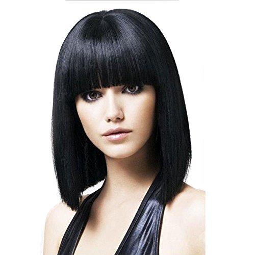 shangke Hair schwarz Bob Perücke 35,6cm kurz synthetische Perücken für schwarz Frauen Natur schwarz Perücken mit Pony Hitzebeständig Damen Perücke