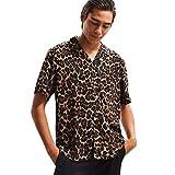MOTOCO Herren Leopard Premium Kurzarm Shirt Top/Sommer V-Ausschnitt Button Polos Lässige T-Shirt/Blusen(M,Schwarz)