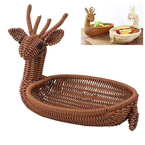 1pc Neuheit Weihnachten Elk Design Brot-Korb Handmade Wicker Brotkorb Obst Gemüse Serving Korb Oval Woven Servieren Speicher-Korb für Küche Hauptdekoration (Kaffee) (Oval-speicher-körbe)