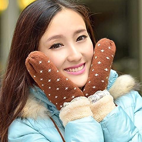 KHSKX Donna graziosa giornate invernali coreano spessa maglia di lana guanti caldo freddo,D
