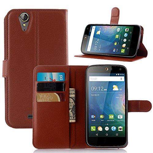 Taslar Leather Wallet Magnetic Clip Stand Flip Back Cover Case For Acer Z630S (Brown)