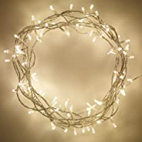 Lights4fun Indoor Fairy Lights with Warm White LEDs on Clear Cable