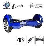 M MEGAWHEELS Self Balance Scooter 8 Zoll 700W Motor mit Bluetooth+LED+Fernbedienung+Tragetasche CE RoHS UL Zertifikation (Blau)