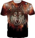 Loveternal Camisetas Hombre Forest Wolf 3D T-Shirt Impreso Gracioso Casual Manga Corta Tops M