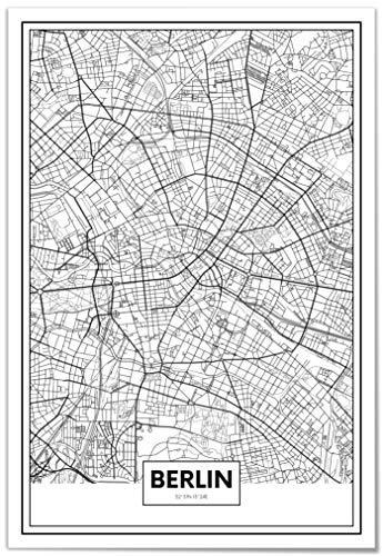 Panorama® Póster Mapa de Berlín 21 x 30 cm | Impreso en Papel 250gr | Póster Pared | Cuadros Decoración Salón | Cuadros para Dormitorio | Póster Decorativos | Cuadros Modernos