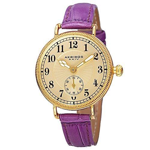 Akribos XXIV Ador Womens Casual Watch - Engraved Sunburst Lines Dial - Quartz Movement - Leather Strap - Purple