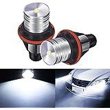 AMBOTHER 2pcs Phare Auto Ampoules Xénon Voiture Feux Avant 3W 7000K Blanc Yeux d'Ange Headlight pour BMW E39 E60 E61 E64 E65 E66 E53 E83 E87
