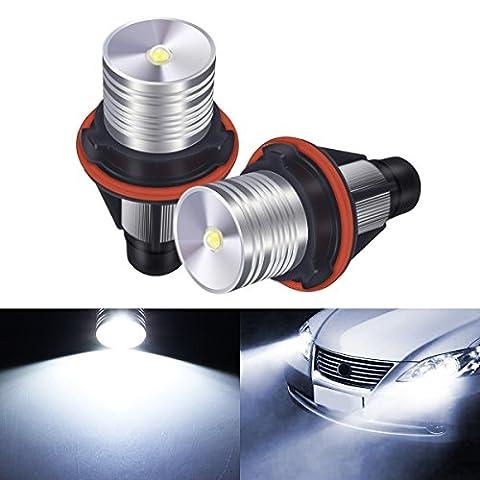 AMBOTHER 2x LED Autoscheinwerfer Auto Headlight Angel Eyes Xenon Licht LED Marker Engelsaugen 3w 7000K Weiß für BMW E39 E60 E61 E64 E65 E66 E53 E83 E87