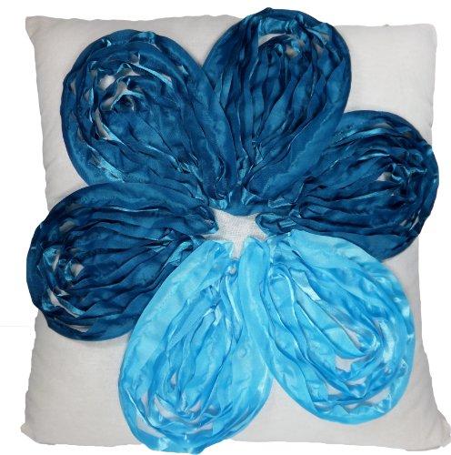 Blue Dolphin Kissenbezug mit 3D-Blumenmuster, 45,7 cm, Blau -